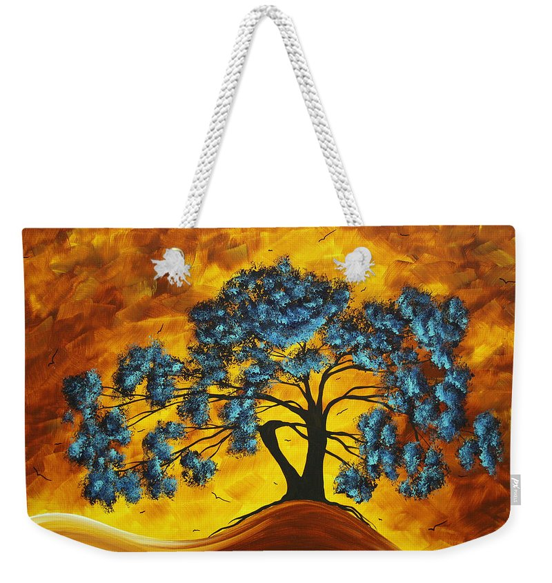 Abstract Weekender Tote Bag featuring the painting Abstract Art Original Landscape Painting Dreaming In Color By Madartmadart by Megan Duncanson