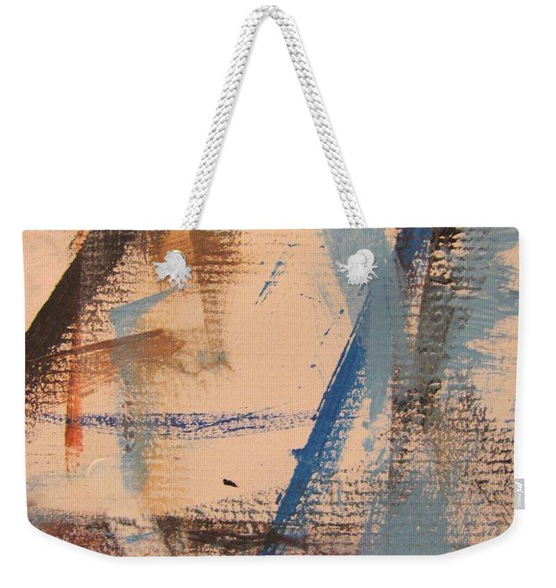 Abstract Weekender Tote Bag featuring the painting Abstract At Sea 3 by Anita Burgermeister