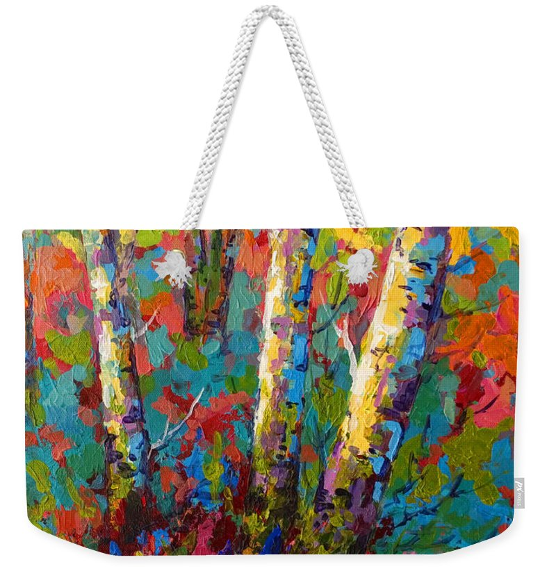 Trees Weekender Tote Bag featuring the painting Abstract Autumn II by Marion Rose