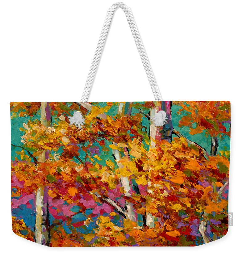 Trees Weekender Tote Bag featuring the painting Abstract Autumn IIi by Marion Rose