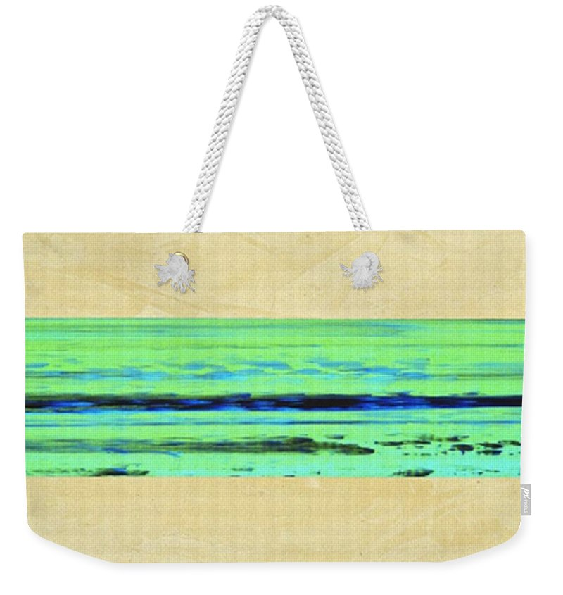 Beach Weekender Tote Bag featuring the mixed media Abstract Beach Landscape by Corbin Henry