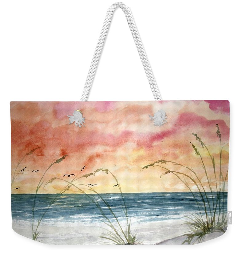 Abstract Weekender Tote Bag featuring the painting Abstract Beach Painting by Derek Mccrea