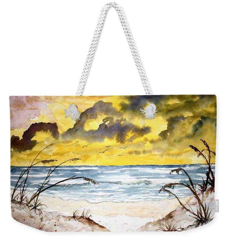 Beach Weekender Tote Bag featuring the painting Abstract Beach Sand Dunes by Derek Mccrea