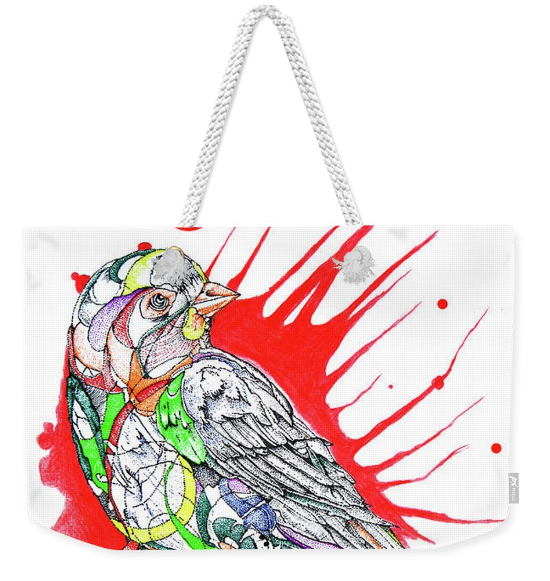Abstract Bird Weekender Tote Bag featuring the mixed media Abstract Bird 002 by Dwayne Hamilton