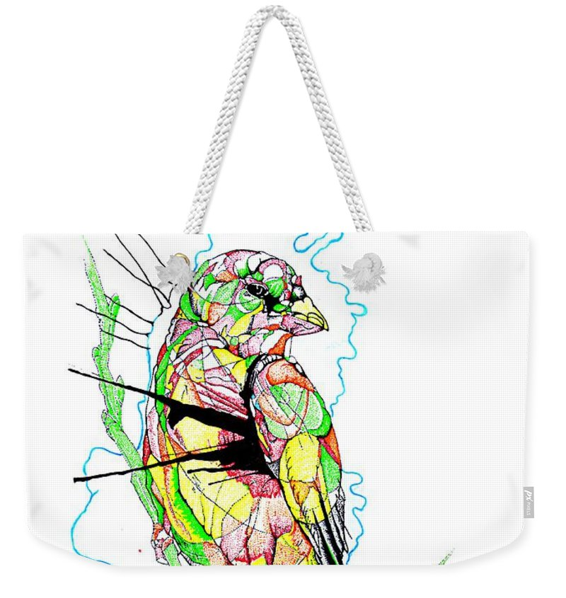 Birds Weekender Tote Bag featuring the mixed media Abstract Bird 01 by Dwayne Hamilton