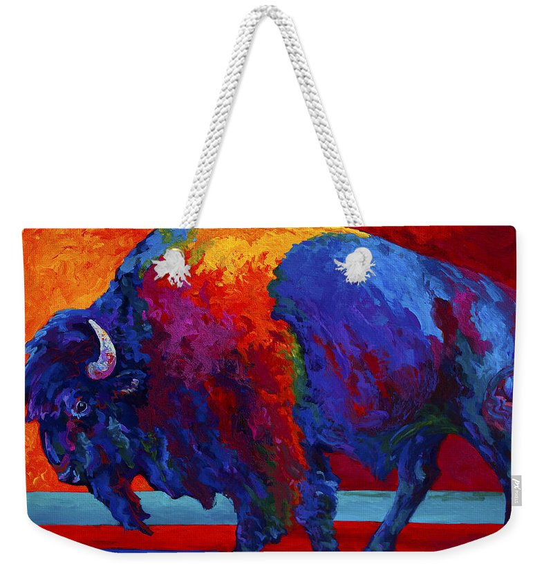 Bison Weekender Tote Bag featuring the painting Abstract Bison by Marion Rose