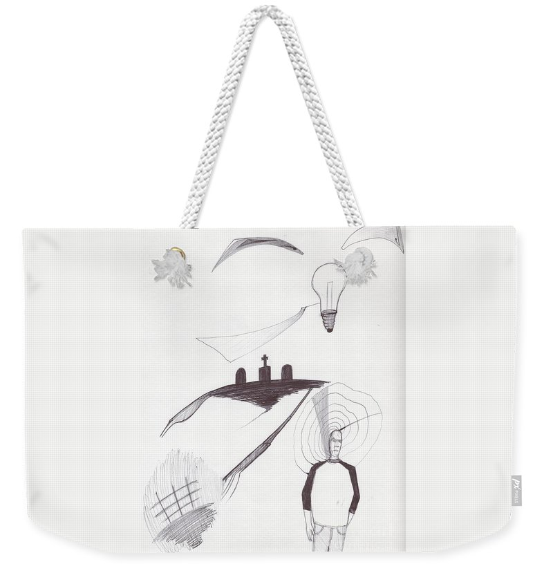 Abstract Bulb Grave Man Weekender Tote Bag featuring the drawing Sjb-14 by St James Bennett