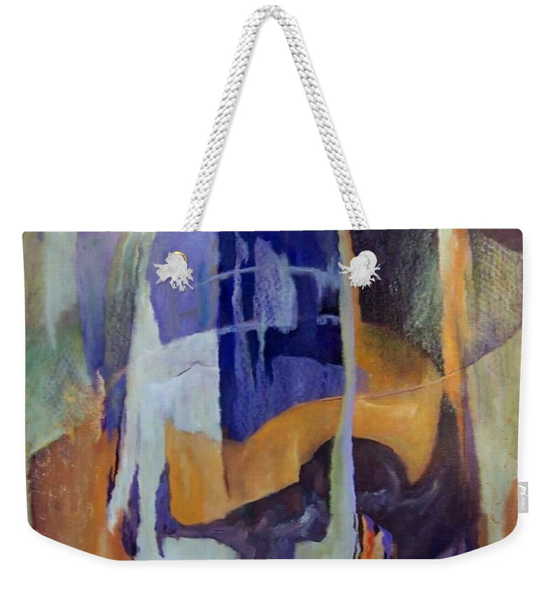 Abstract Weekender Tote Bag featuring the painting Abstract Bridges by Virginia Potter
