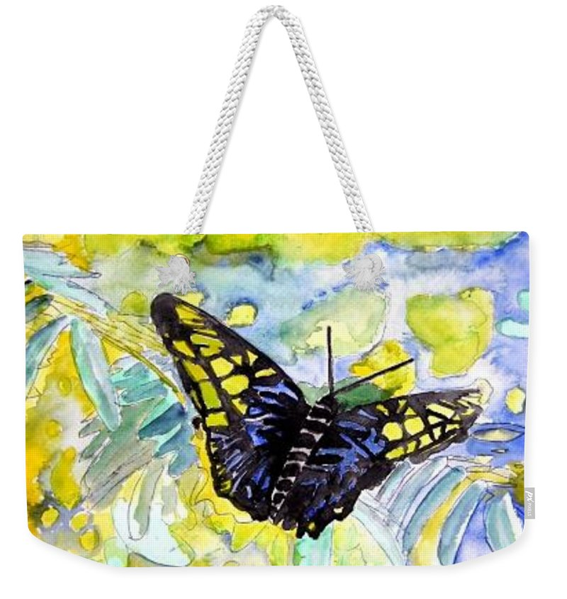 Abstract Weekender Tote Bag featuring the painting Abstract Butterfly by Derek Mccrea