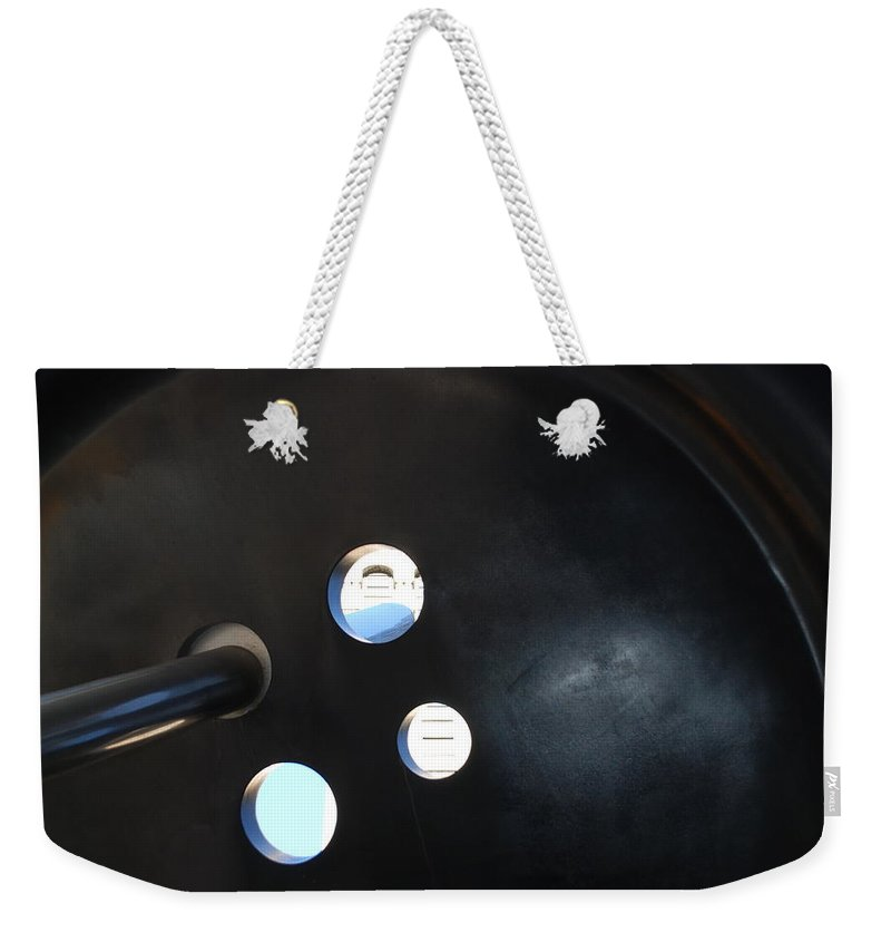 Button Weekender Tote Bag featuring the photograph Abstract Button Holes by Rob Hans