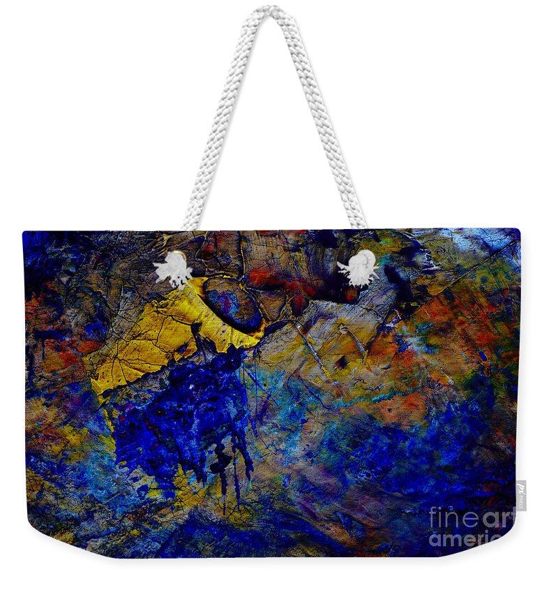 Abstract Weekender Tote Bag featuring the painting Abstract Composition by Michal Boubin