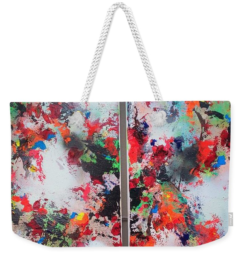 Abstract Weekender Tote Bag featuring the painting Abstract by Didi Mx