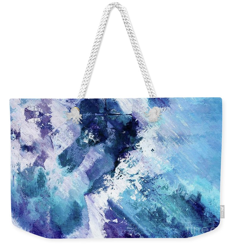 Blue Weekender Tote Bag featuring the digital art Abstract Division - 72t02 by Variance Collections