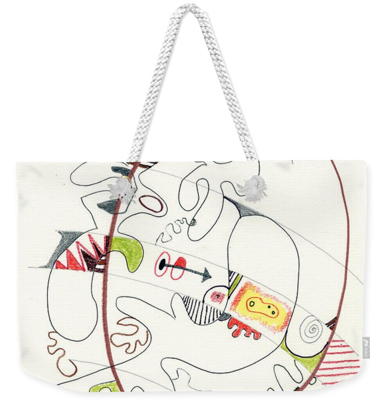 Abstract Weekender Tote Bag featuring the drawing Abstract Drawing Fifty-four by Lynne Taetzsch