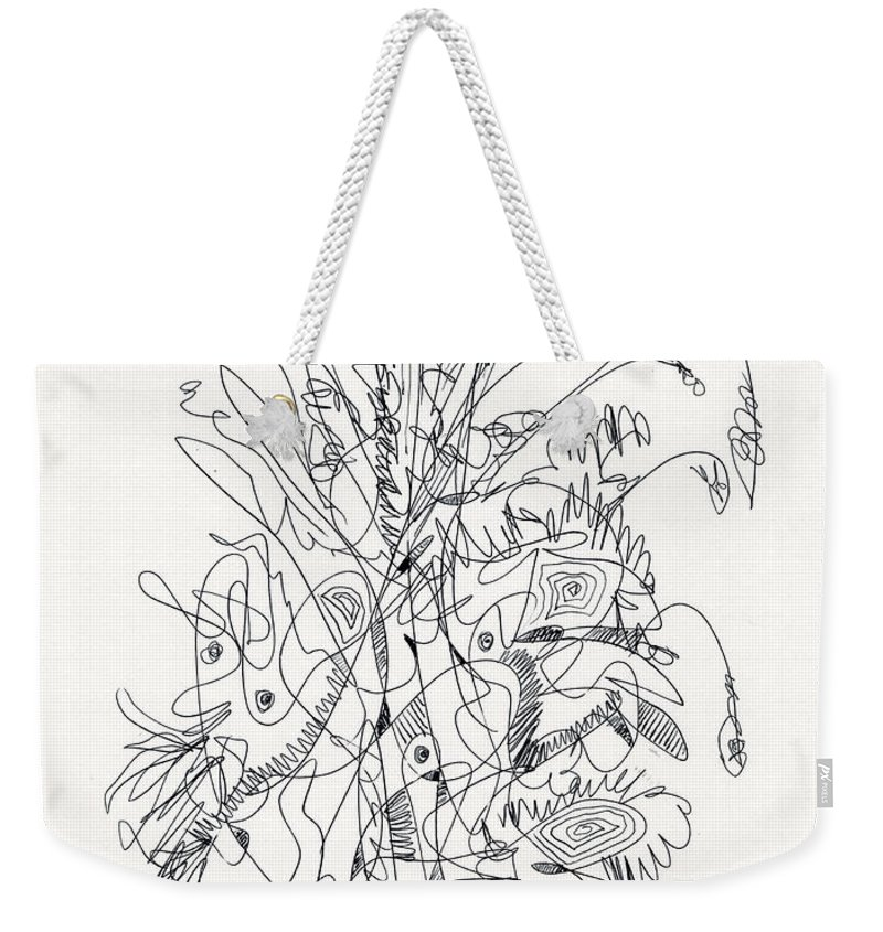 Abstract Weekender Tote Bag featuring the drawing Abstract Drawing Fifty-nine by Lynne Taetzsch