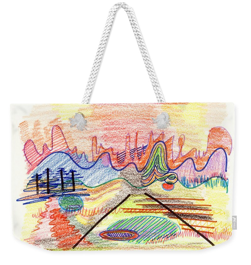 Abstract Weekender Tote Bag featuring the drawing Abstract Drawing Five by Lynne Taetzsch