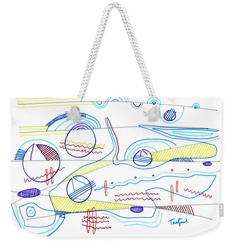 Abstract Weekender Tote Bag featuring the drawing Abstract Drawing Sixty-three by Lynne Taetzsch