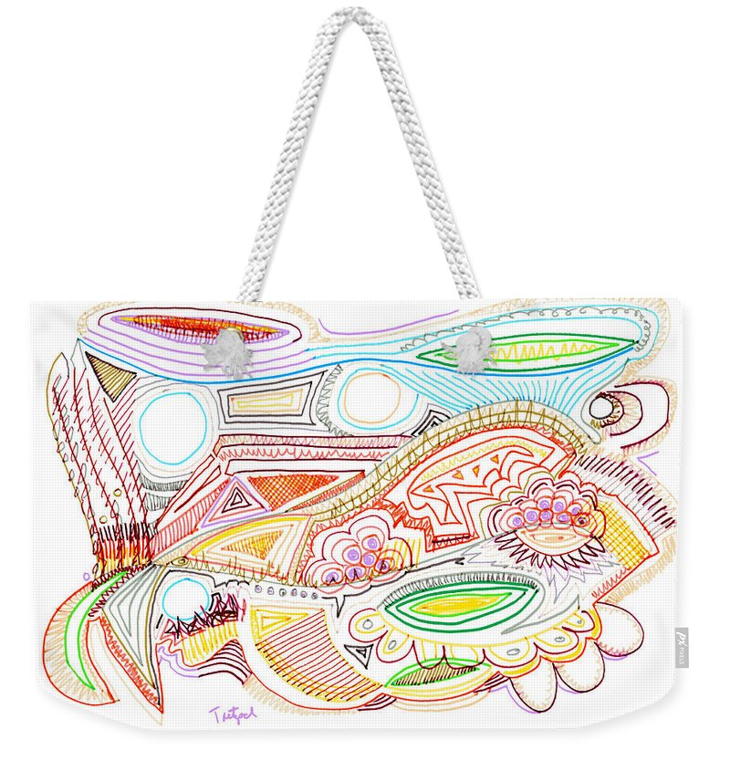 Abstract Weekender Tote Bag featuring the drawing Abstract Drawing Sixty-two by Lynne Taetzsch