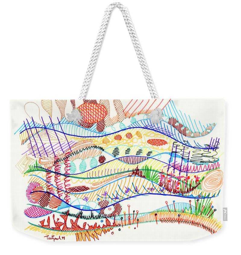 Abstract Weekender Tote Bag featuring the drawing Abstract Drawing Three by Lynne Taetzsch