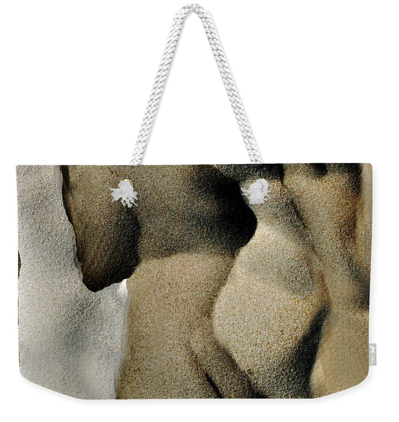 Abstract Weekender Tote Bag featuring the photograph Abstract Female Figure In Grey by Hana Shalom
