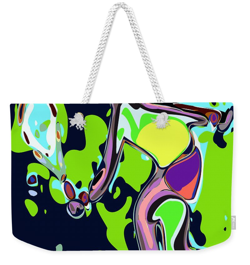 Tennis Weekender Tote Bag featuring the digital art Abstract Female Tennis Player 2 by Chris Butler