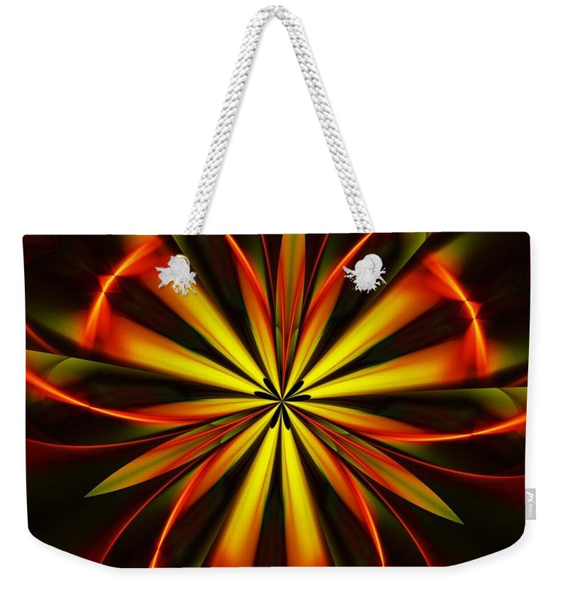 Fine Art Weekender Tote Bag featuring the digital art Abstract Floral 032811 by David Lane