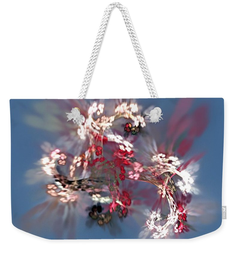 Floral Weekender Tote Bag featuring the digital art Abstract Floral Fantasy by David Lane