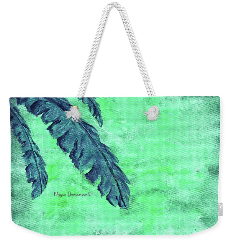 Floral Weekender Tote Bag featuring the painting Abstract Floral Fauna Banana Leaf Tropical Aqua Splash Abstract Art By Megan Duncanson by Megan Duncanson
