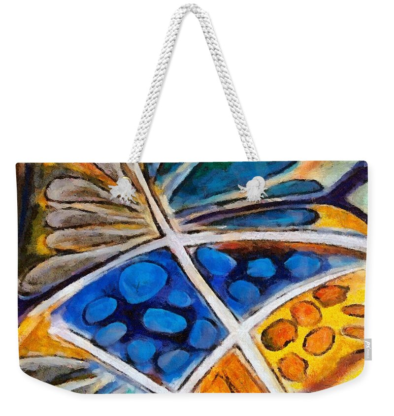 Flower Weekender Tote Bag featuring the painting Abstract Flower by Dragica Micki Fortuna