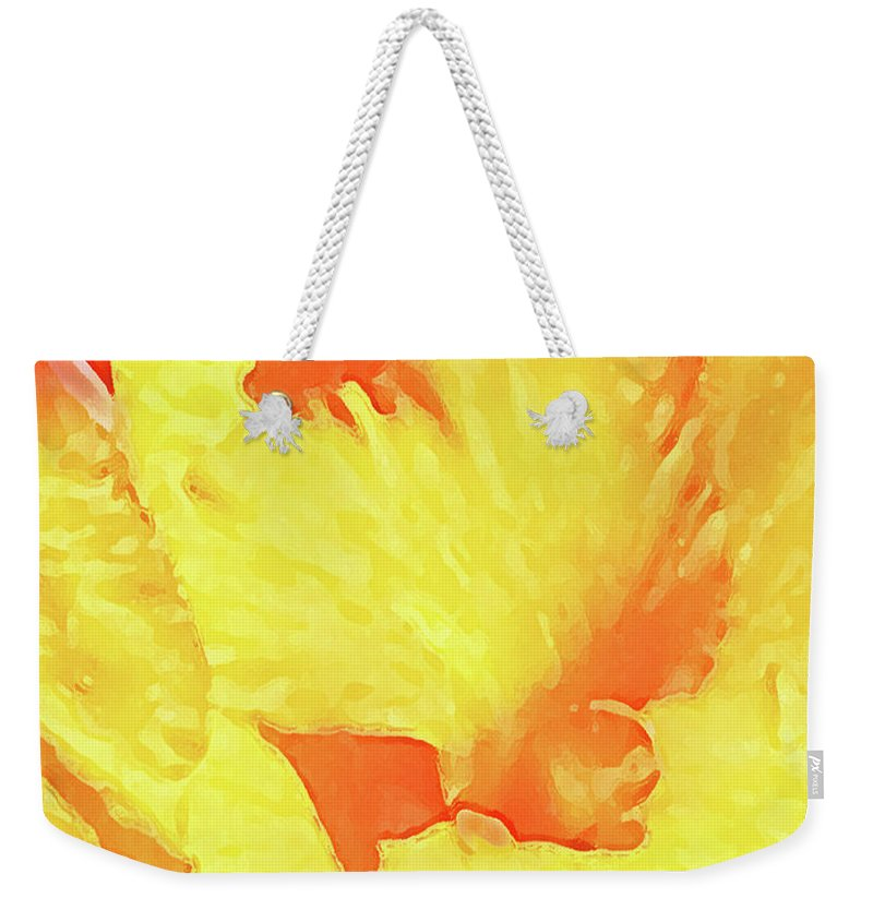 Abstract Weekender Tote Bag featuring the mixed media Abstract Flower by Nat Air Craft
