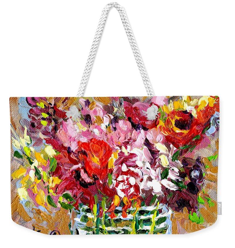 Colorful Original Flower Paintings Weekender Tote Bag featuring the painting Abstract Flowers In Glass Vase Colorful Original Painting By Carole Spandau by Carole Spandau