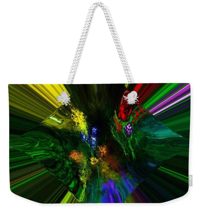 Digital Painting Weekender Tote Bag featuring the digital art Abstract Garden by David Lane