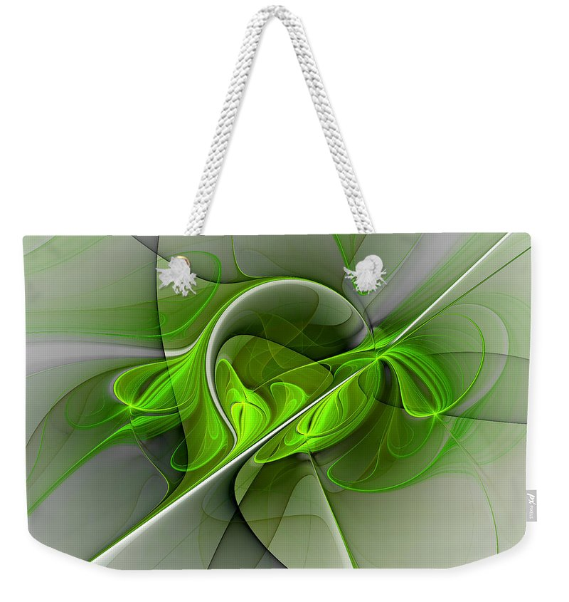 Abstract Weekender Tote Bag featuring the digital art Abstract Green Fractal Art by Gabiw Art