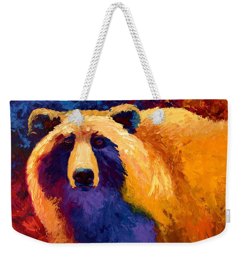 Western Weekender Tote Bag featuring the painting Abstract Grizz II by Marion Rose