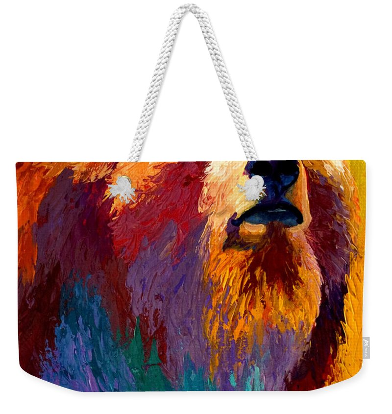 Western Weekender Tote Bag featuring the painting Abstract Grizz by Marion Rose