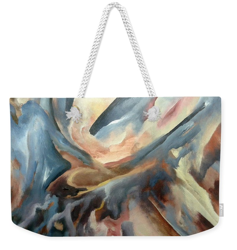 Abstract Weekender Tote Bag featuring the painting Abstract by Hamlet Al Kuti