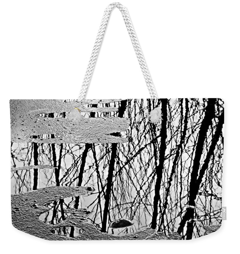 Ice Weekender Tote Bag featuring the photograph Abstract In Ice by Marilyn Hunt