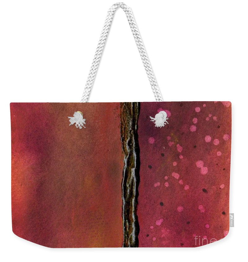 Abstract Art Weekender Tote Bag featuring the painting Abstract In Rose And Copper by Desiree Paquette