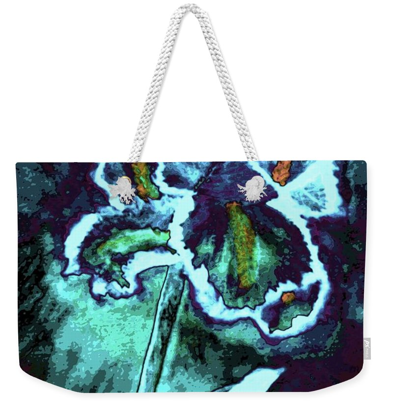 Abstract Iris Weekender Tote Bag featuring the mixed media Abstract Iris by Maria Urso