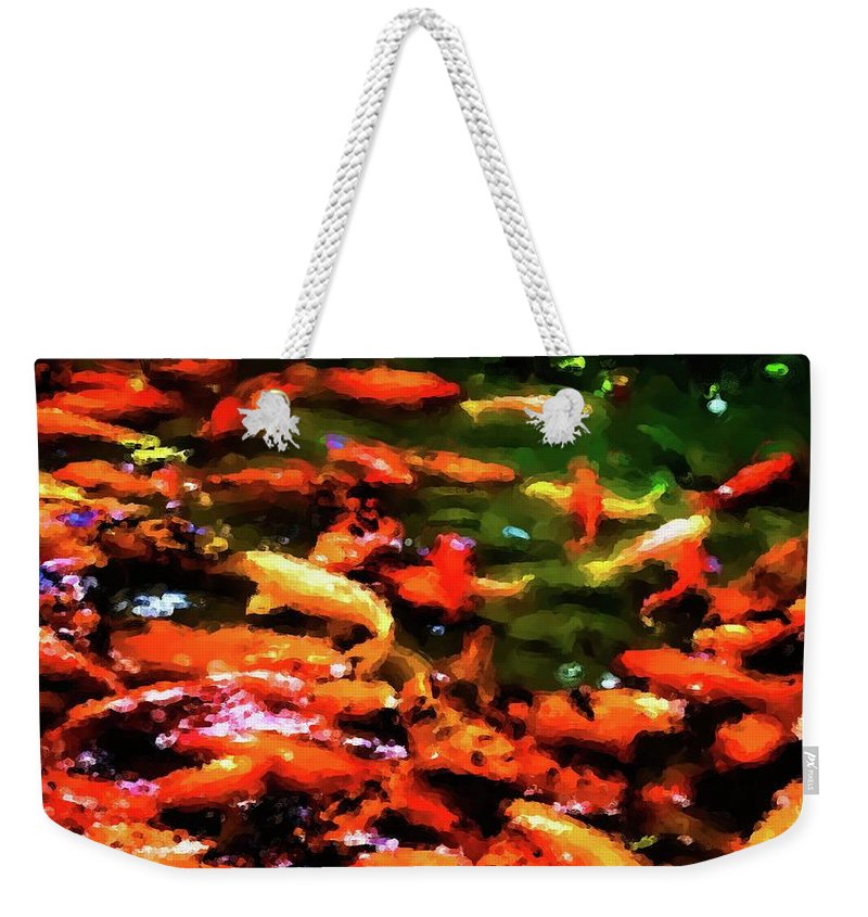 Koi Weekender Tote Bag featuring the photograph Abstract Koi 38 by Kristalin Davis