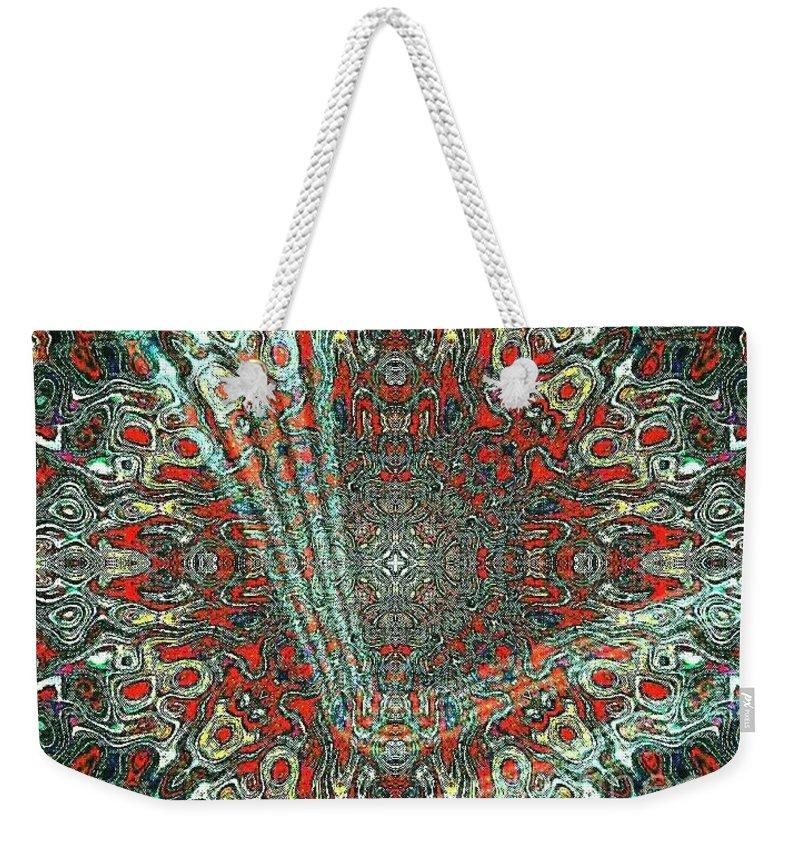 Crop Circles Weekender Tote Bag featuring the digital art Abstract Air Landing by Pamela Smale Williams