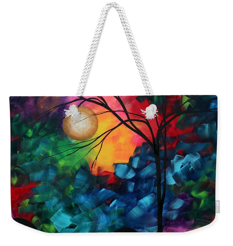 Abstract Weekender Tote Bag featuring the painting Abstract Landscape Bold Colorful Painting by Megan Duncanson
