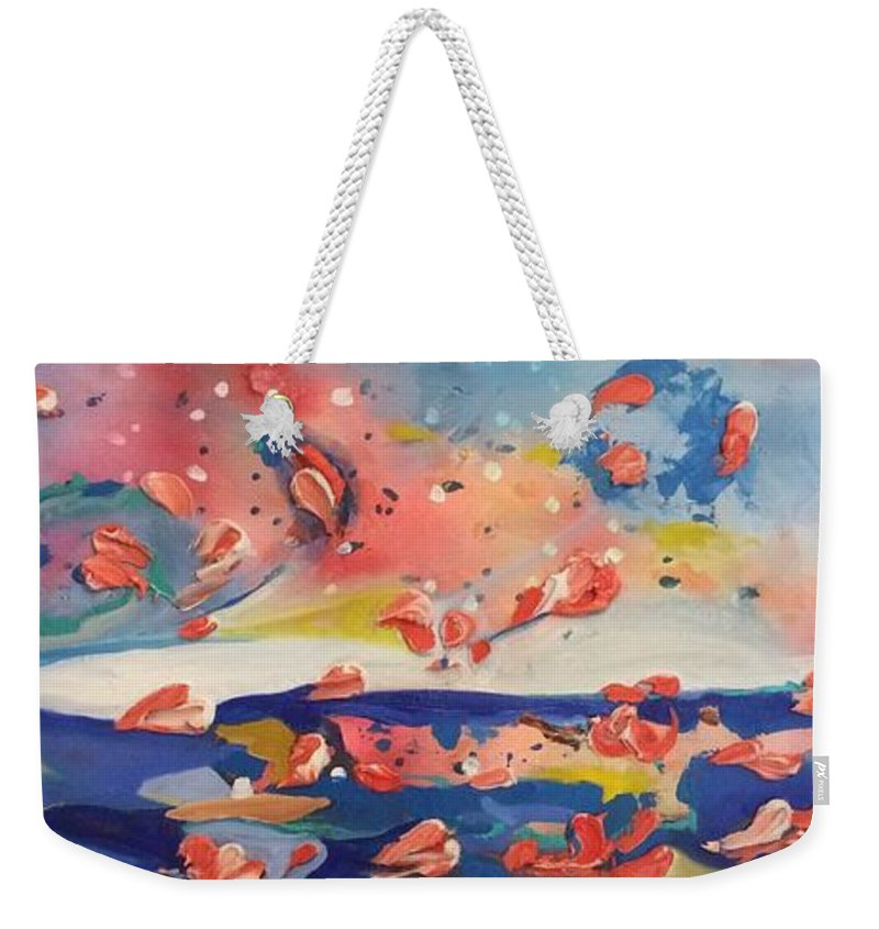 Abstract Weekender Tote Bag featuring the painting Abstract Landscape by Didi Mx