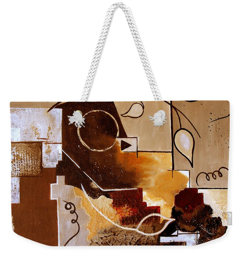 Abstract Weekender Tote Bag featuring the painting Abstract Nature Wall by Ruth Palmer