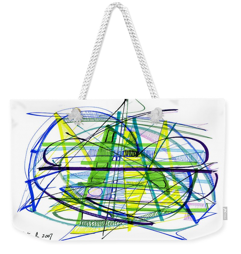 Abstract Weekender Tote Bag featuring the drawing Abstract Pen Drawing Thirty by Lynne Taetzsch