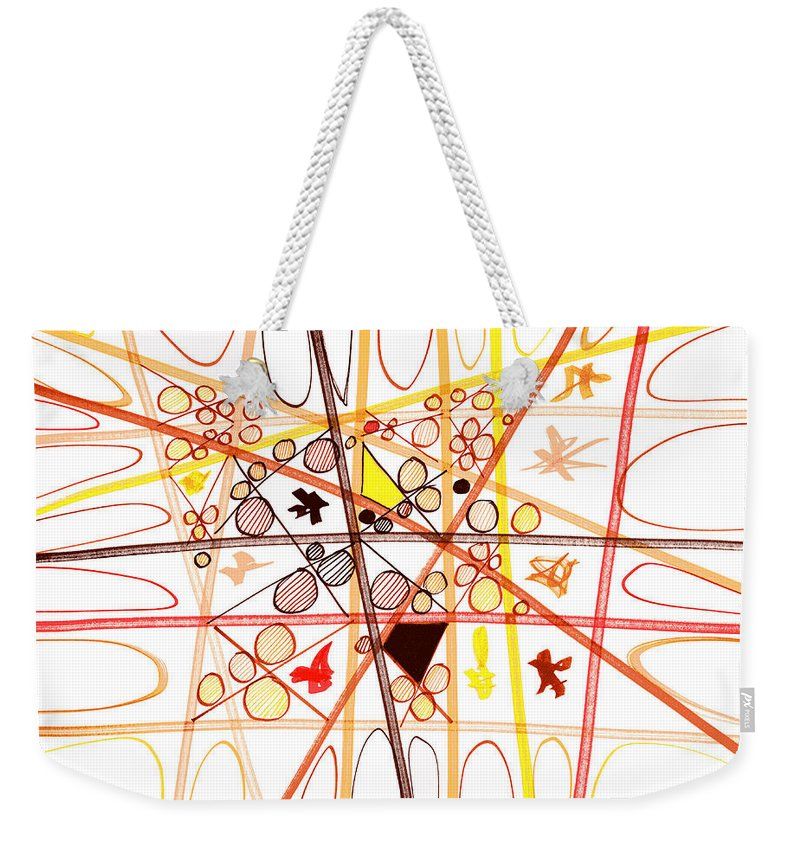 Abstract Art Weekender Tote Bag featuring the drawing Abstract Pen Drawing Three by Lynne Taetzsch