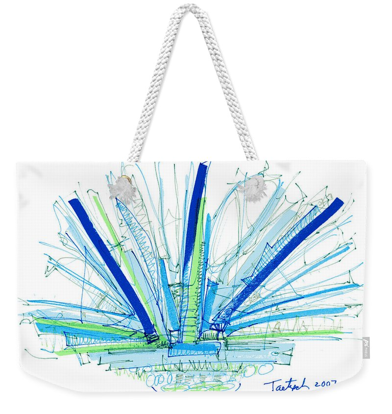 Abstract Weekender Tote Bag featuring the drawing Abstract Pen Drawing Twenty-nine by Lynne Taetzsch