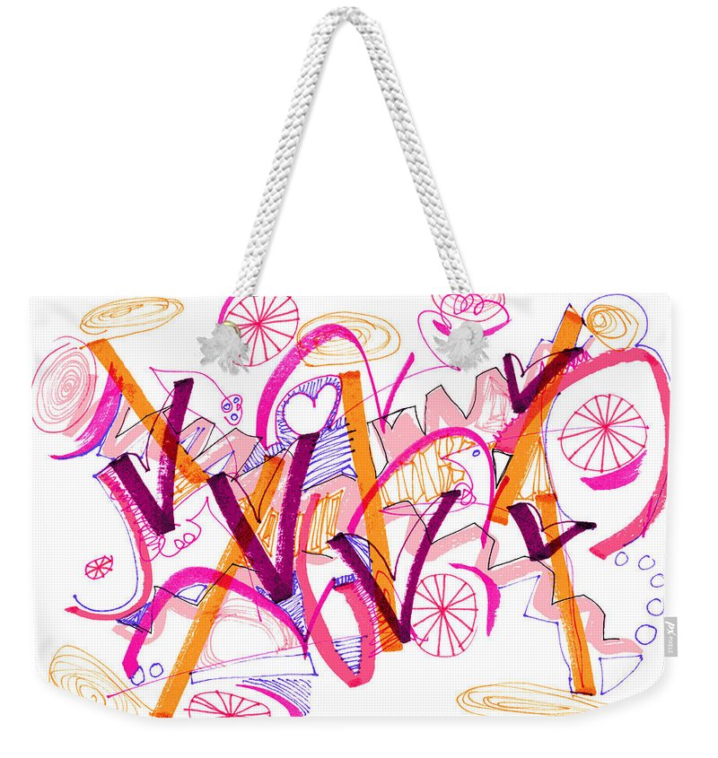 Abstract Weekender Tote Bag featuring the drawing Abstract Pen Drawing Twenty-six by Lynne Taetzsch