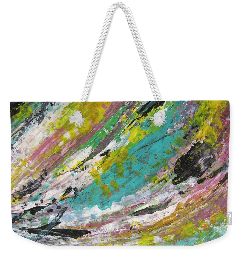 Abstract Weekender Tote Bag featuring the painting Abstract Piano 1 by Anita Burgermeister