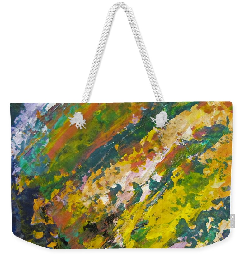 Abstract Weekender Tote Bag featuring the painting Abstract Piano 3 by Anita Burgermeister